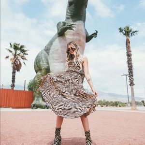 Misguided zebra pleated midi skirt
